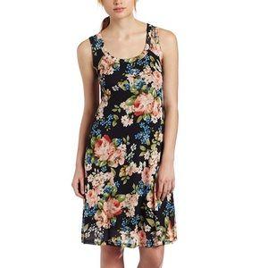 Karen Kane Tank Dress Rose Floral Print Pleated